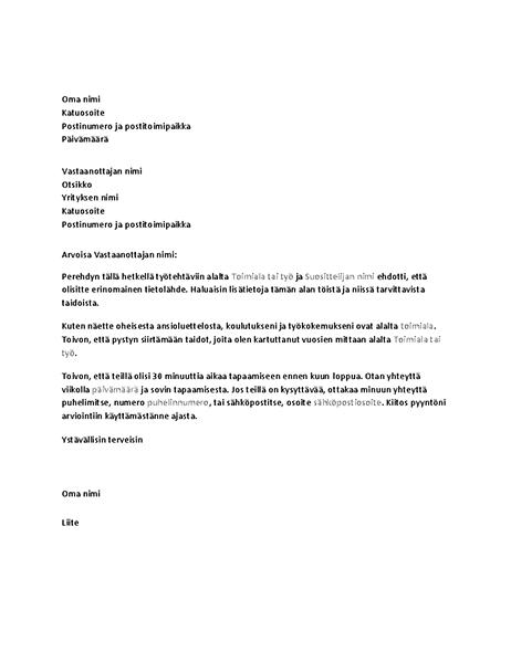 Kirje, jossa pyydetään laajaa haastattelua