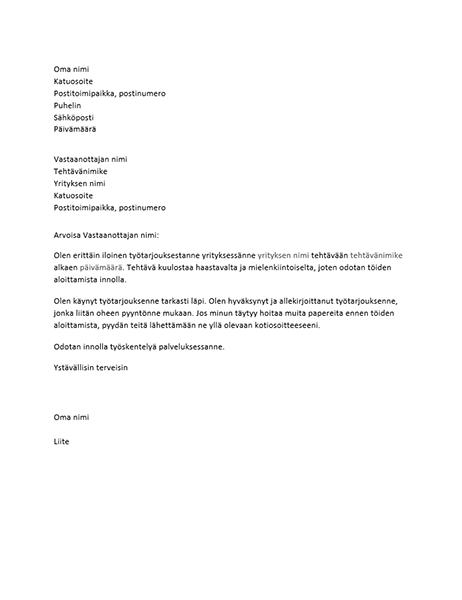 Työtarjouksen hyväksyntäkirje