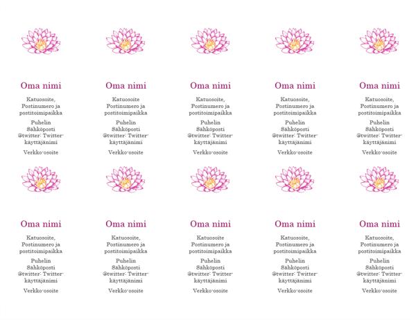 Kukka-aiheiset käyntikortit (pystysuuntainen)