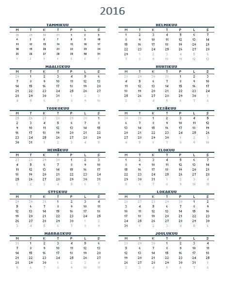 Vuosikalenteri, yksi vuosi