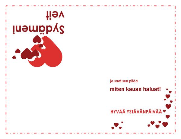 Ystävänpäiväkortti (sydämen kuva, neljään osaan taitettava)