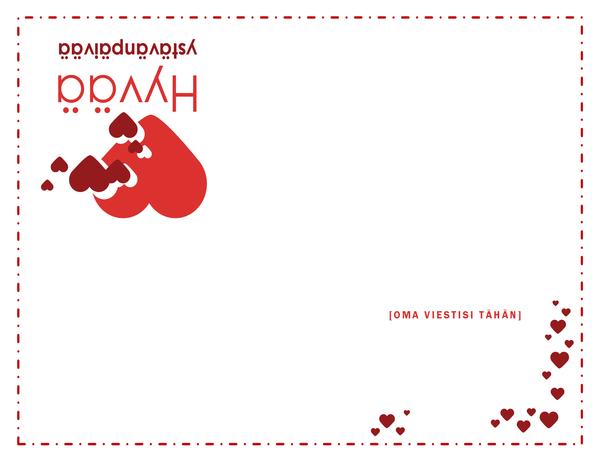 Ystävänpäiväkortti (neljään osaan taitettava)