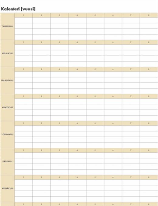 Ikuinen kalenteri (vaakasuunta)