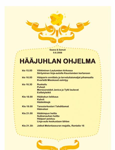 Hääjuhlan ohjelma (moderni)