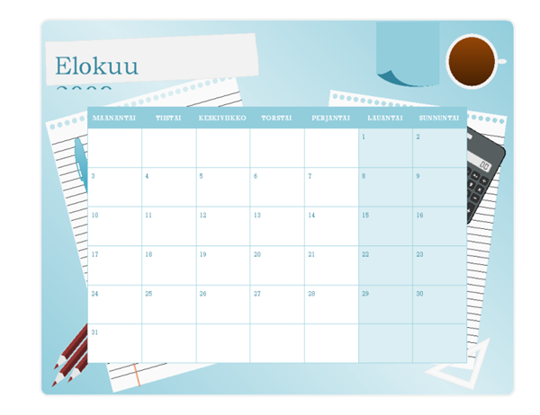 2009-2010 akateeminen kalenteri (elokuu–elokuu, ma–su)