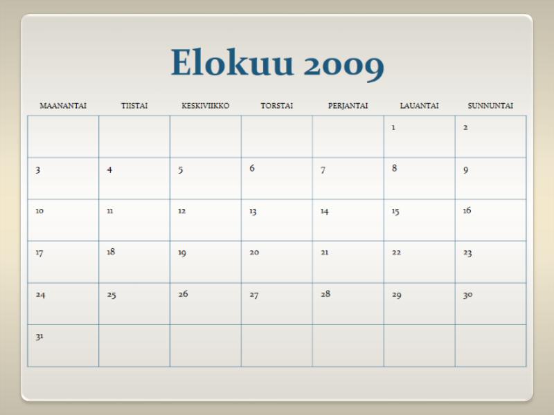 2009-2010 akateeminen kalenteri (13 sivua, ma–su)