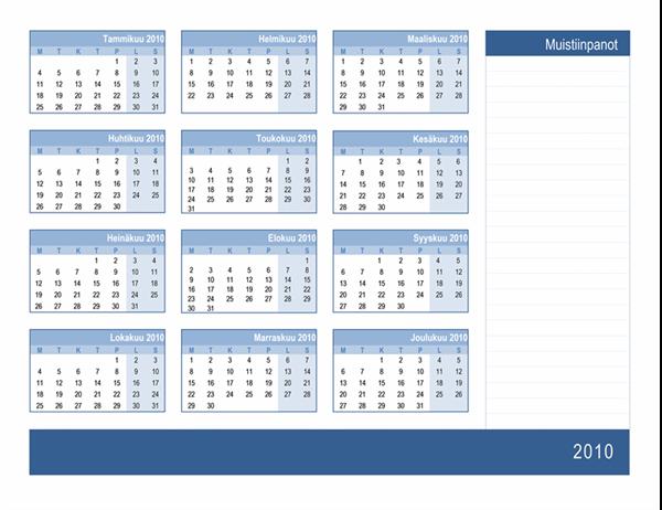 Kalenteri 2010, jossa on tilaa muistiinpanoille (1-sivuinen, ma–su)