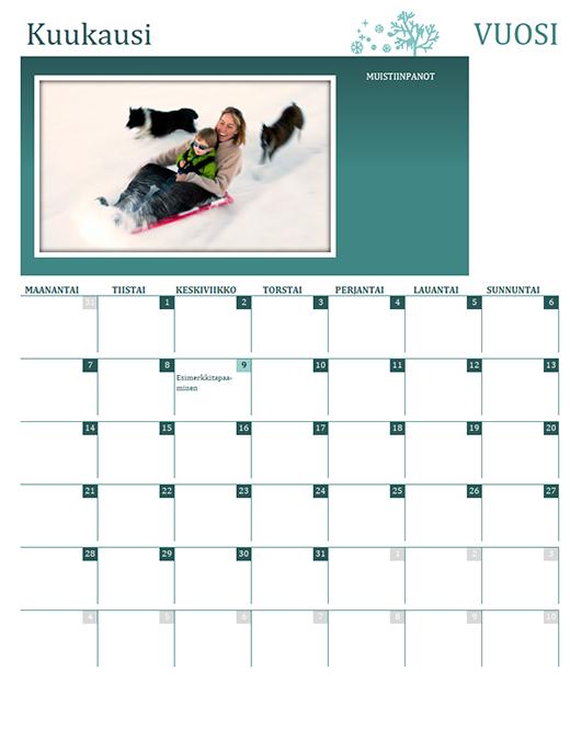 Perheen vuodenaikakalenteri (kaikki vuodet, ma–su)