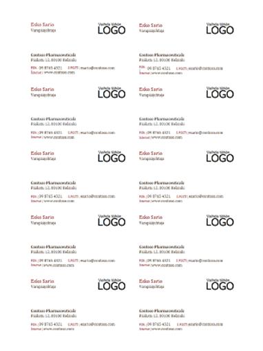 Käyntikortit, joissa on logo (10 sivulla)