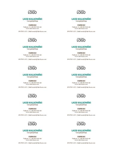 Käyntikortit, joissa on vaakasuuntainen asettelu ja logo (10 korttia yhdellä arkilla)