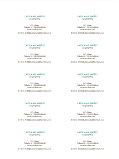 Käyntikortit, joissa on vaakasuuntainen asettelu, ei logoa (10 korttia yhdellä arkilla)