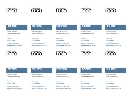 Käyntikortit, joissa on pystysuuntainen asettelu ja logo (10 sivulla)