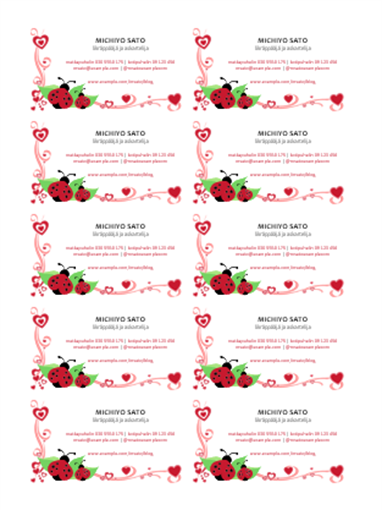 Käyntikortit (leppäkerttuja ja sydämiä, keskitetty, 10 sivulla)