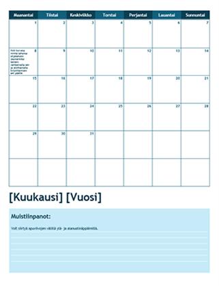Kuukausikohtainen lukuvuosikalenteri (viikon aloituspäivä: maanantai)