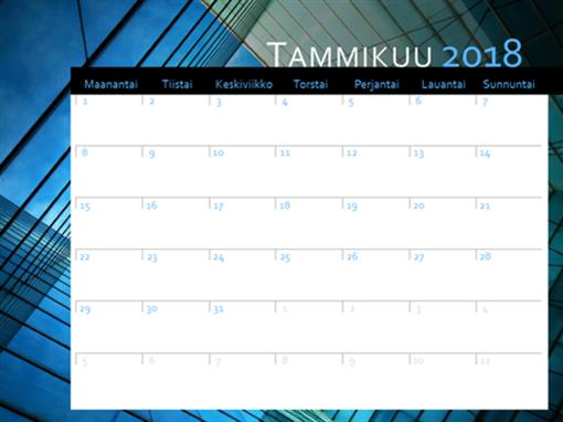 Kalenteri vuodelle 2018 (ma–su)