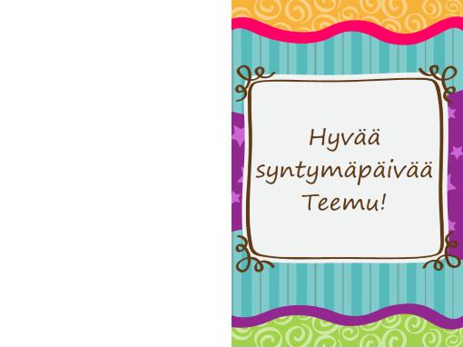 Syntymäpäiväkortti - tähdet ja raidat (lapset, taitettava)
