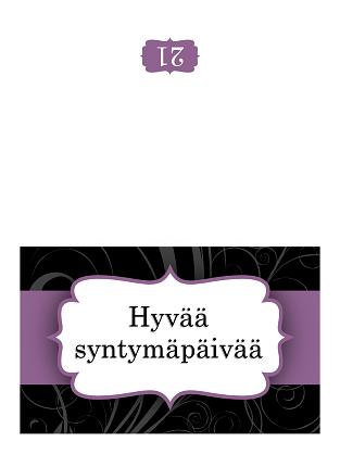 Syntymäpäiväkortti (violetti nauha, taitettava)