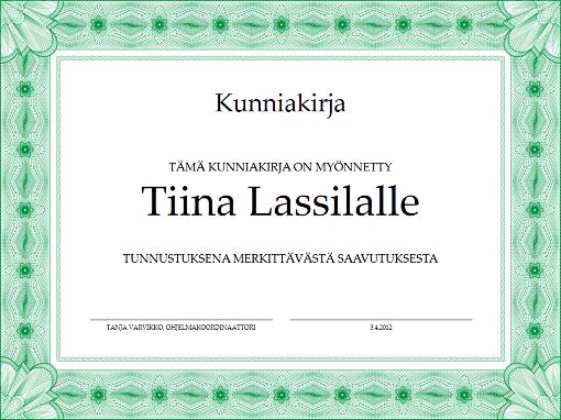 Tunnustus merkittävästä saavutuksesta (vihreä)