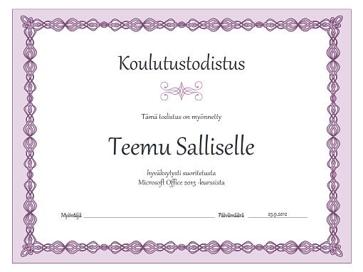 Todistus harjoittelusta (violetti koristereuna)
