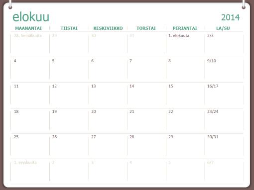 Lukuvuosikalenteri 2014–2015 (elokuu–heinäkuu)
