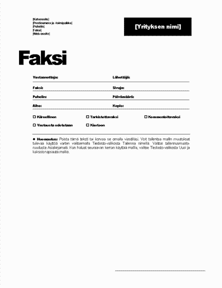 Faksin kansilehti (Ammattimainen teema)