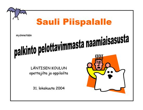 Parhaan Halloween-asun palkinto
