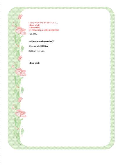 Ystävänpäiväkirjeen kirjepohja
