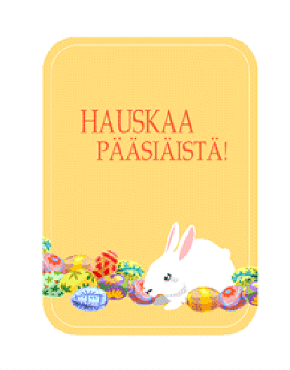 Pääsiäiskortti (pupu ja pääsiäismunia)