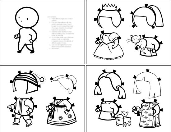 Paperinukke (tyttö, väritettävä)