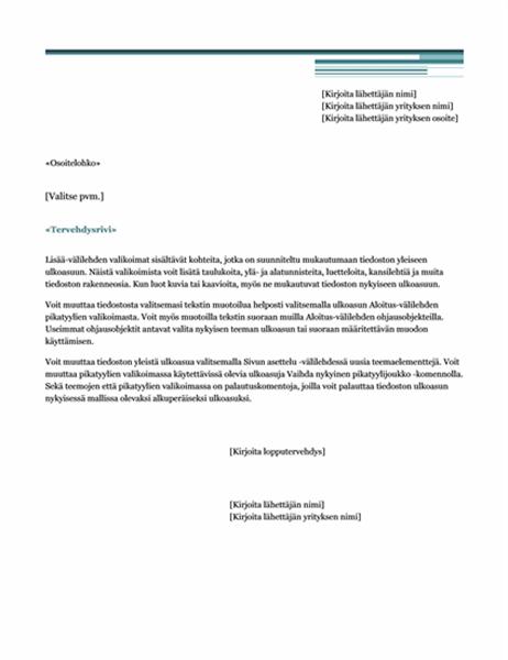 Postitietojen yhdistämiskirje (Urbaani-teema)