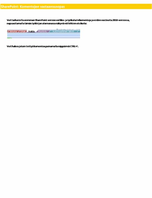 SharePoint Serverin valintanauhakomentojen vastaavuuksien työkirja