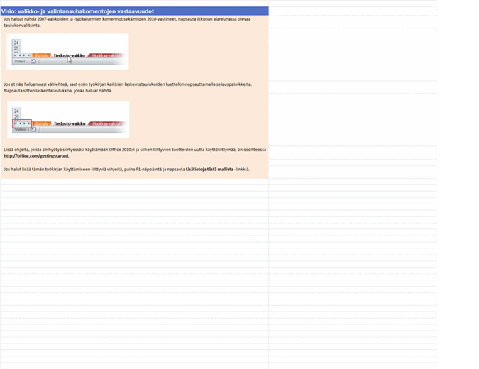 Visio 2010: valikko- ja valintanauhakomentojen vastaavuuksien työkirja