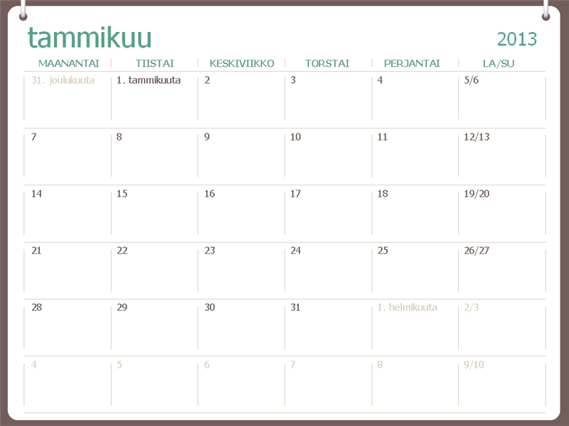 Vuosikalenteri 2013, kaksi rengasta (ma–su)