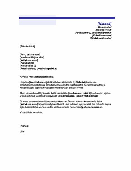 Tilapäisen työpaikan saatekirje (teema:sininen viiva)