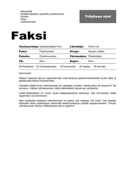 Faksin kansilehti (ammattimainen rakenne)