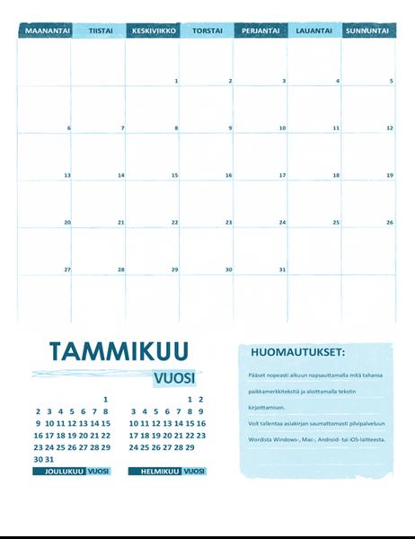 Lukuvuosikalenteri ma-su (vuosi)