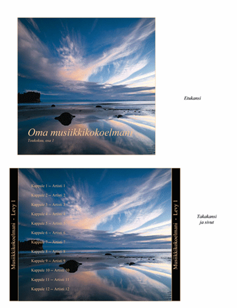 Musiikkikokoelman CD-levyn kansilehdet
