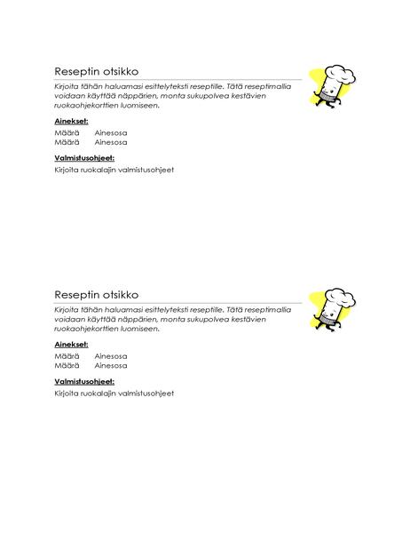 Ruokareseptikortit (2 yhdellä sivulla)