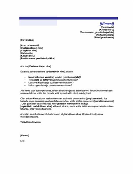 Pyytämättä lähetetyn ansioluettelon saatekirje (teema: sininen viiva)