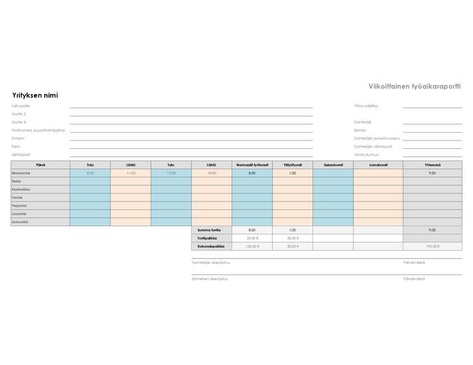 Viikoittainen työaikaraportti (8 ½ x 11, vaaka)