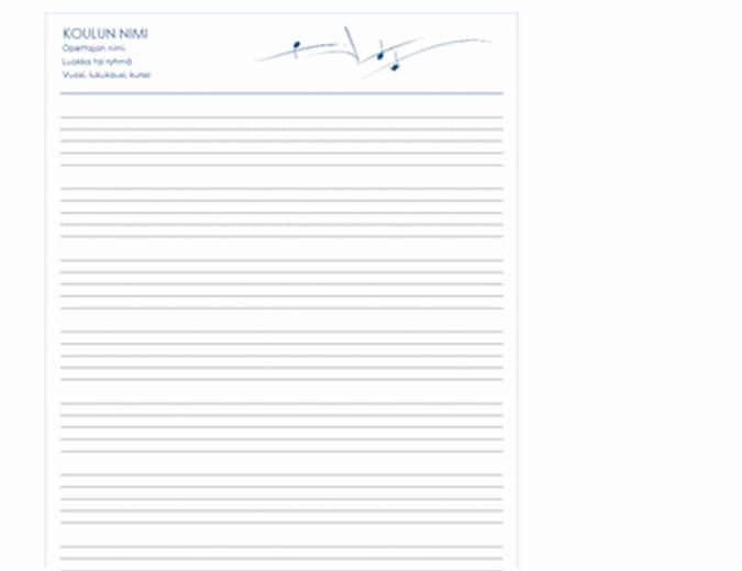 Perusnuottiviivasto (pystysuuntainen, 8 riviä sivulla)
