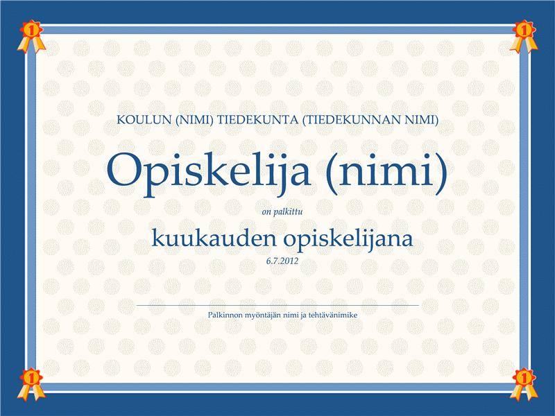 Kuukauden oppilas -sertifikaatti