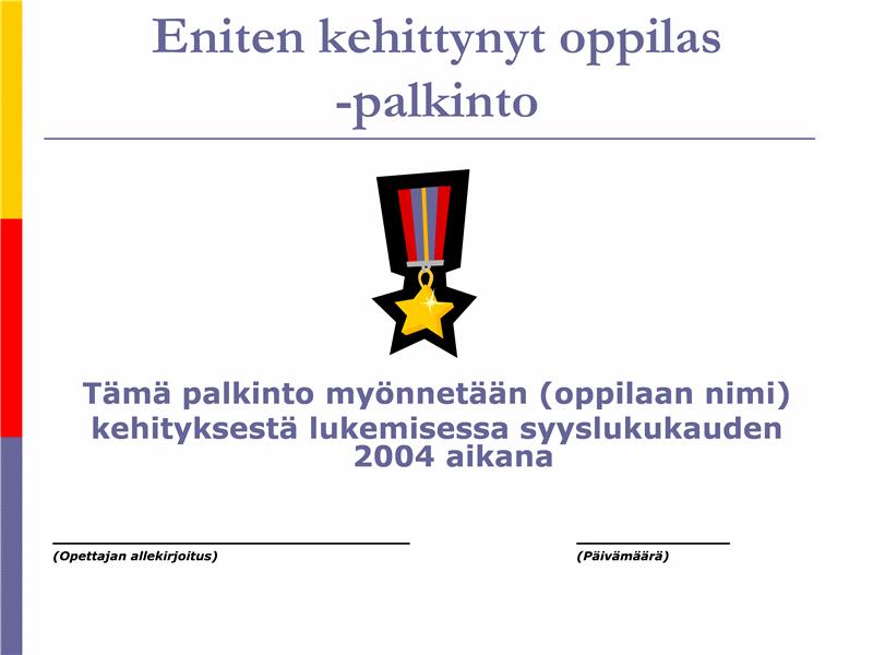 Eniten kehittynyt oppilas -palkinto