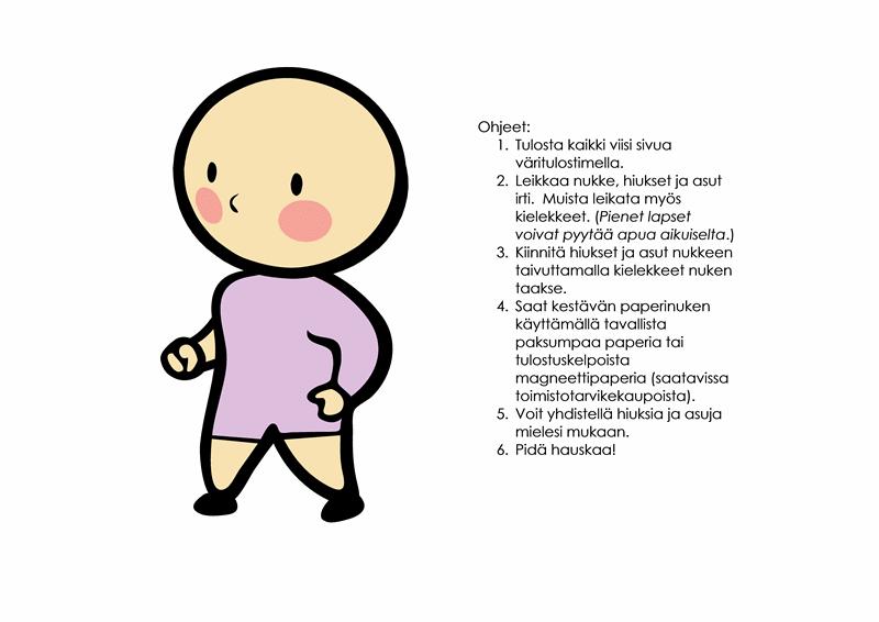 Paperinukkeja (tyttö, malli 3)