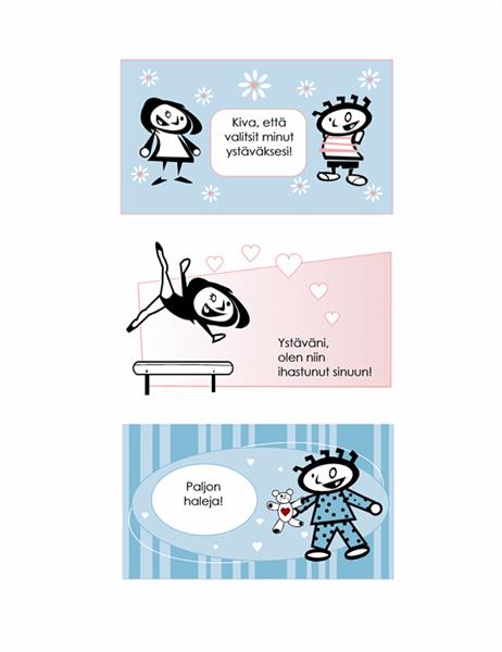 Itsetehdyt ystävänpäiväkortit lapsille (neljä sivua korttimalleja ja yksi yleiskäyttöinen takasivu)