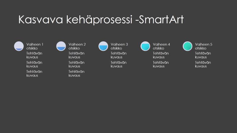 SmartArt-dian kasvava kehäprosessi (harmaa ja sininen mustalla), laajakuva