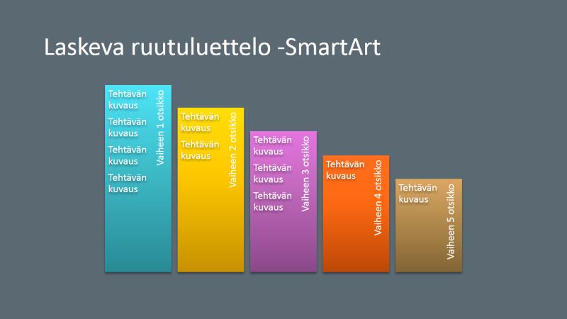 SmartArt-dian laskeva lohkoluettelo (monivärinen harmaalla), laajakuva