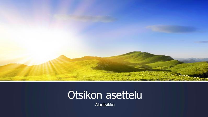 Sininen vaihtuvavärinen esitys, jossa on valokuva auringonnoususta vuorilla (laajakuva)