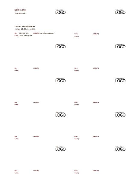 Käyntikortit, vaakasuora asettelu, jossa logo, vasemmalle tasattu teksti
