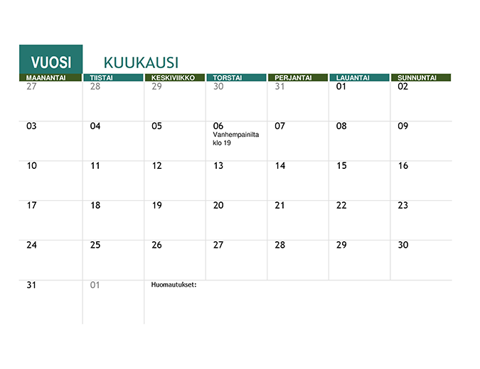 Lukuvuosikalenteri (mikä tahansa vuosi)